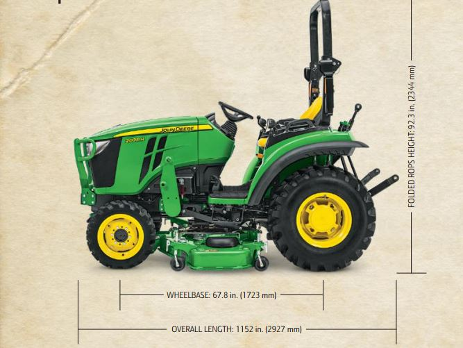 John Deere 2038R Compact Utility Tractor dimension