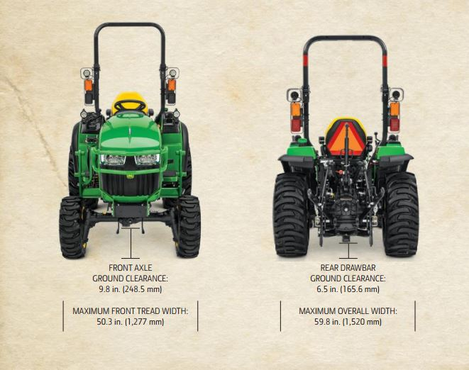 John Deere 2038R Compact Utility Tractor dimension1