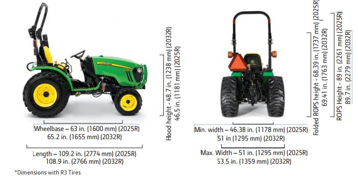 John Deere 2025R Compact Utility Tractor dimensions