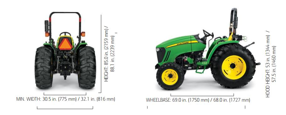 John Deere 4105 Compact Utility Tractor dimensions