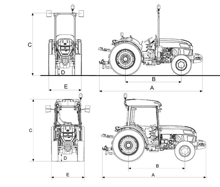Landini Rex 90 tractor dimension