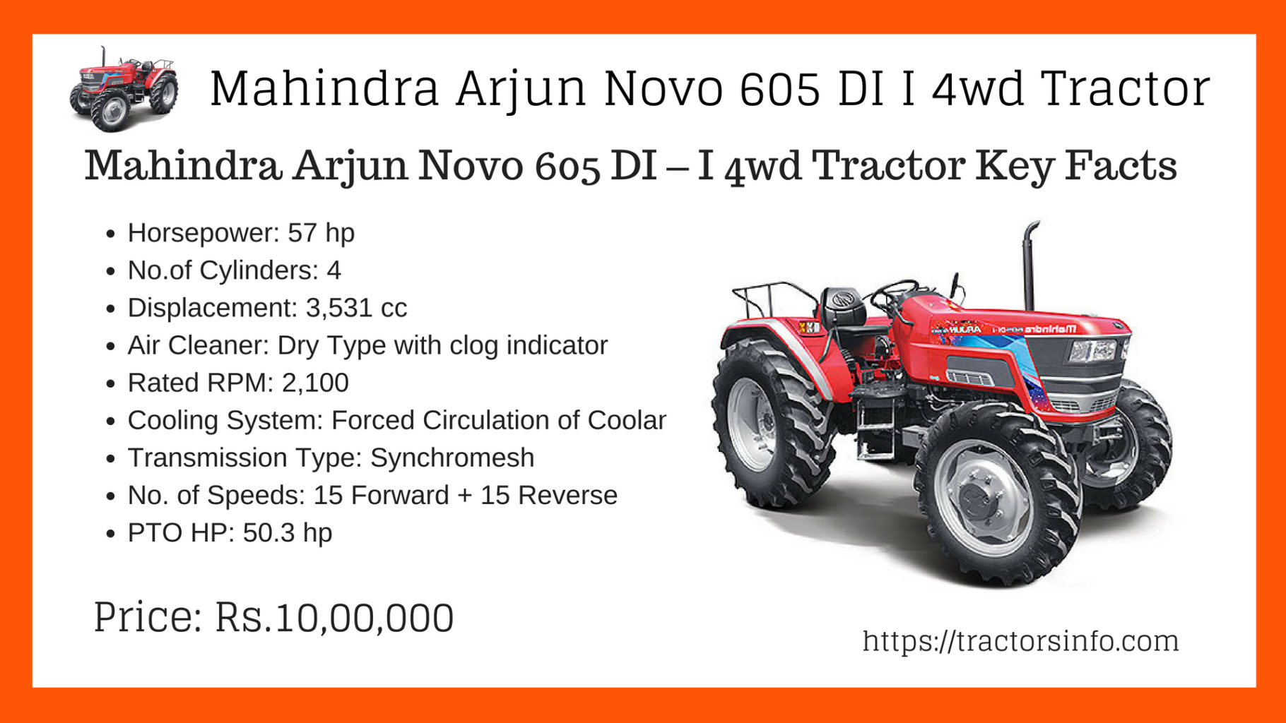 Mahindra Arjun Novo 605 DI – I 4wd Tractor