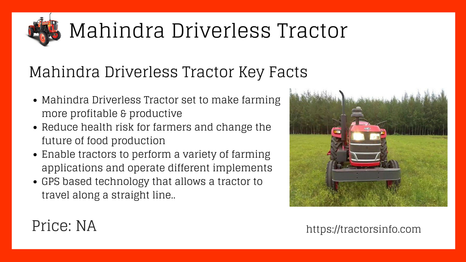 Driverless tractor Mahindra price in India
