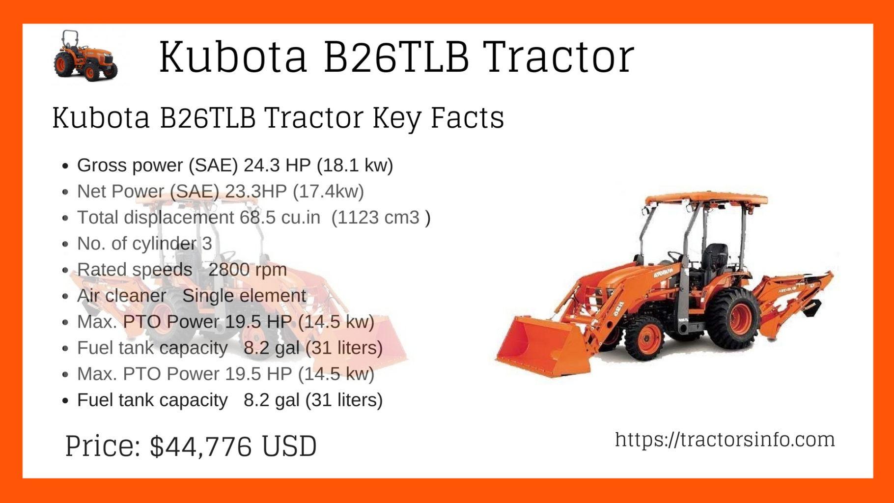 Kubota B26 TLB (Tractor, Loader, Backhoe)