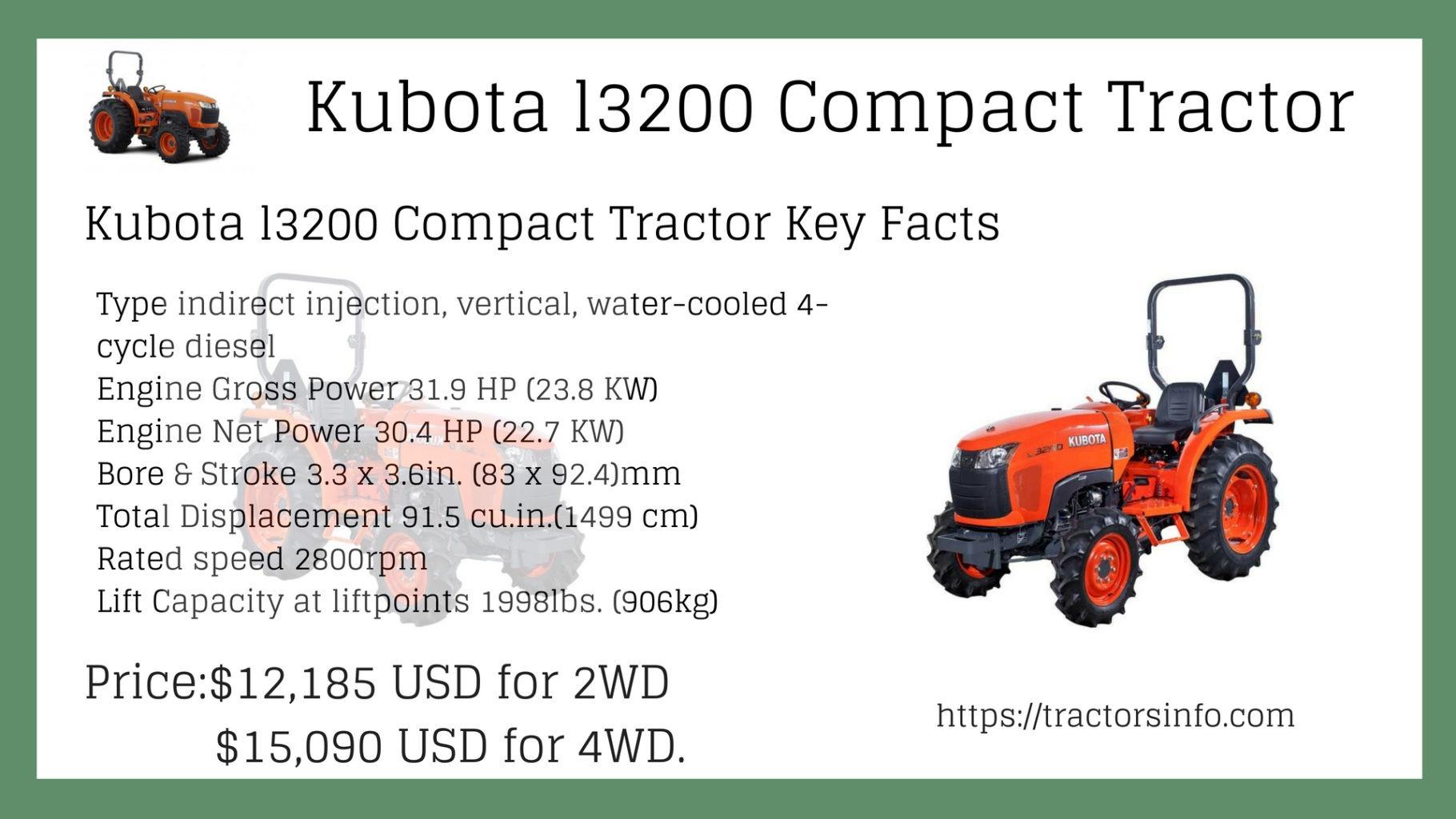 Kubota l3200 Price UK, Backhoe Attachment, Specs, features