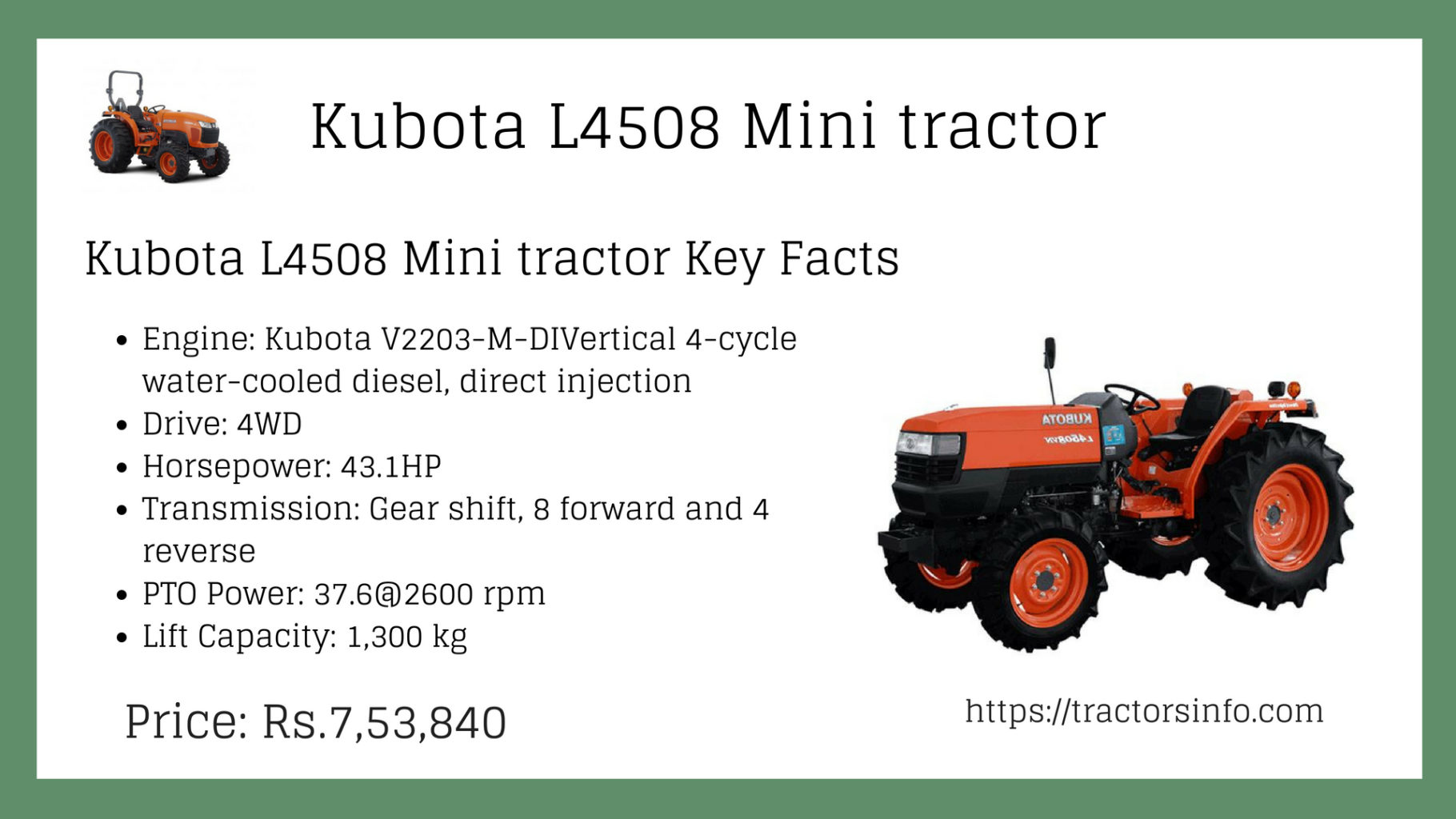 Kubota L4508 4WD Small Tractor Price Specs features Attachments