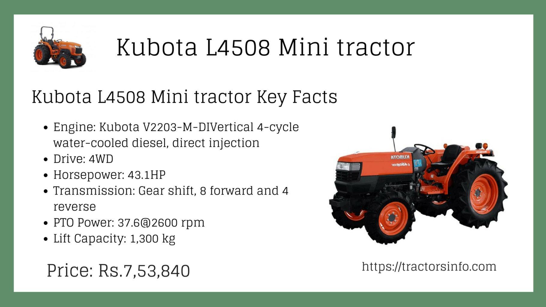 Kubota L4508 mini tractor