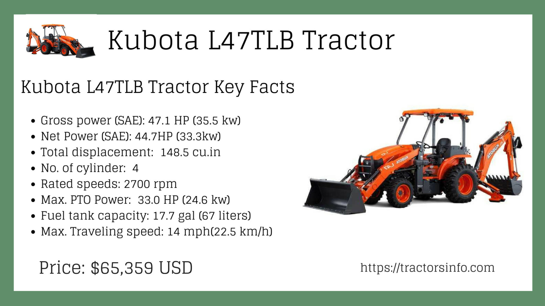 Kubota L47 TLB Tractor Price specs