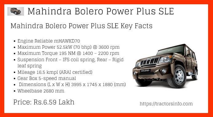 Mahindra Bolero Power + SLE Price List in India