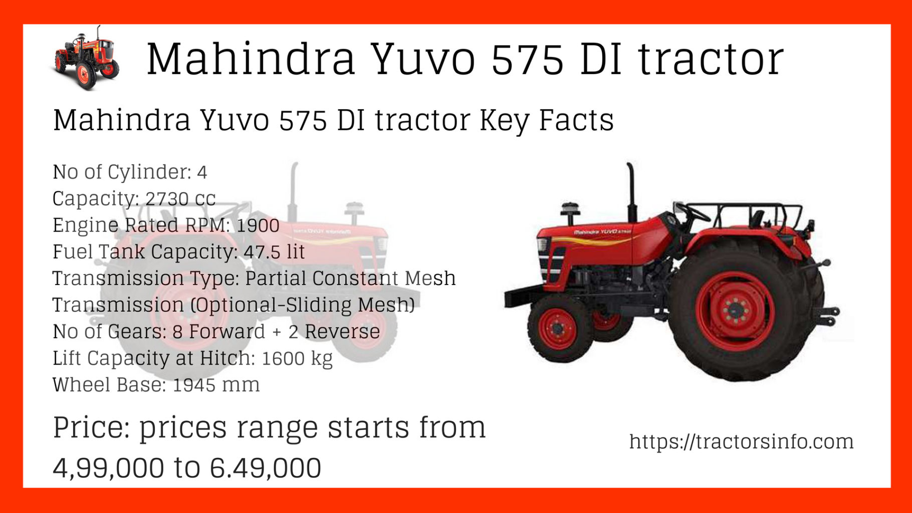Mahindra Yuvo 575 Di Price Overview Specs And Key Feature