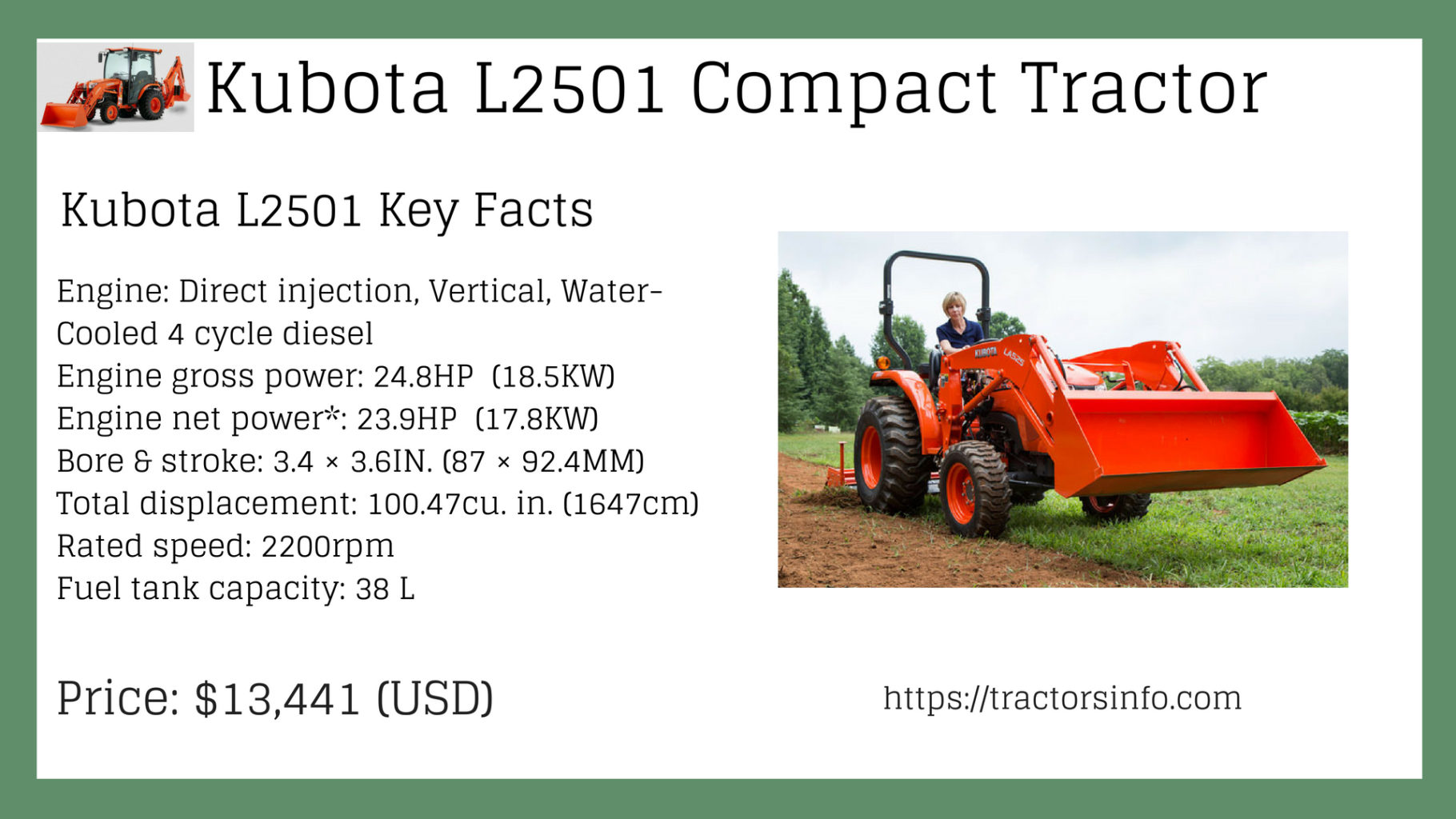 llll➤ Compact Tractors | Kubota L2501 Price Specs Key Features