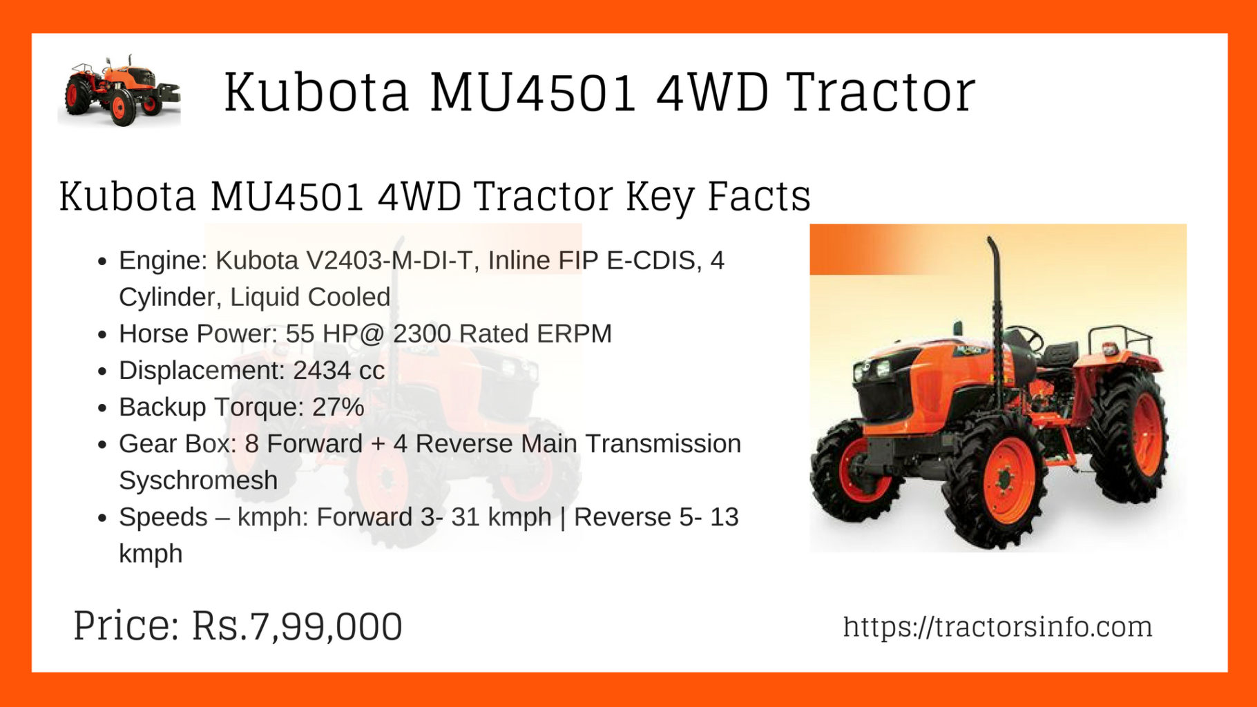 ✙Kubota MU4501✙ 4WD Tractor Price Specs Key features images