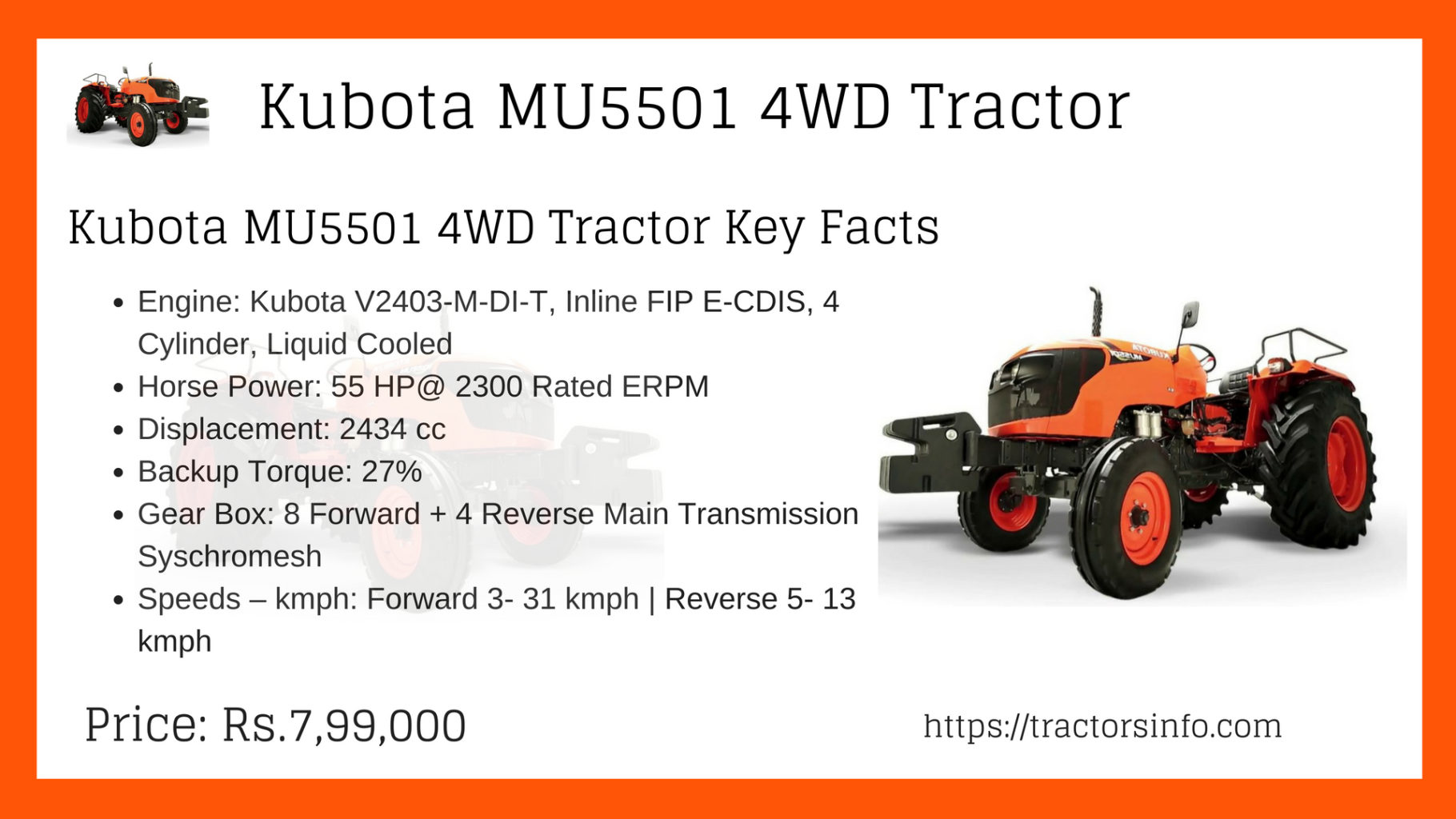 ✱Kubota MU5501✱ 4WD 55HP Tractor Price Specs Features