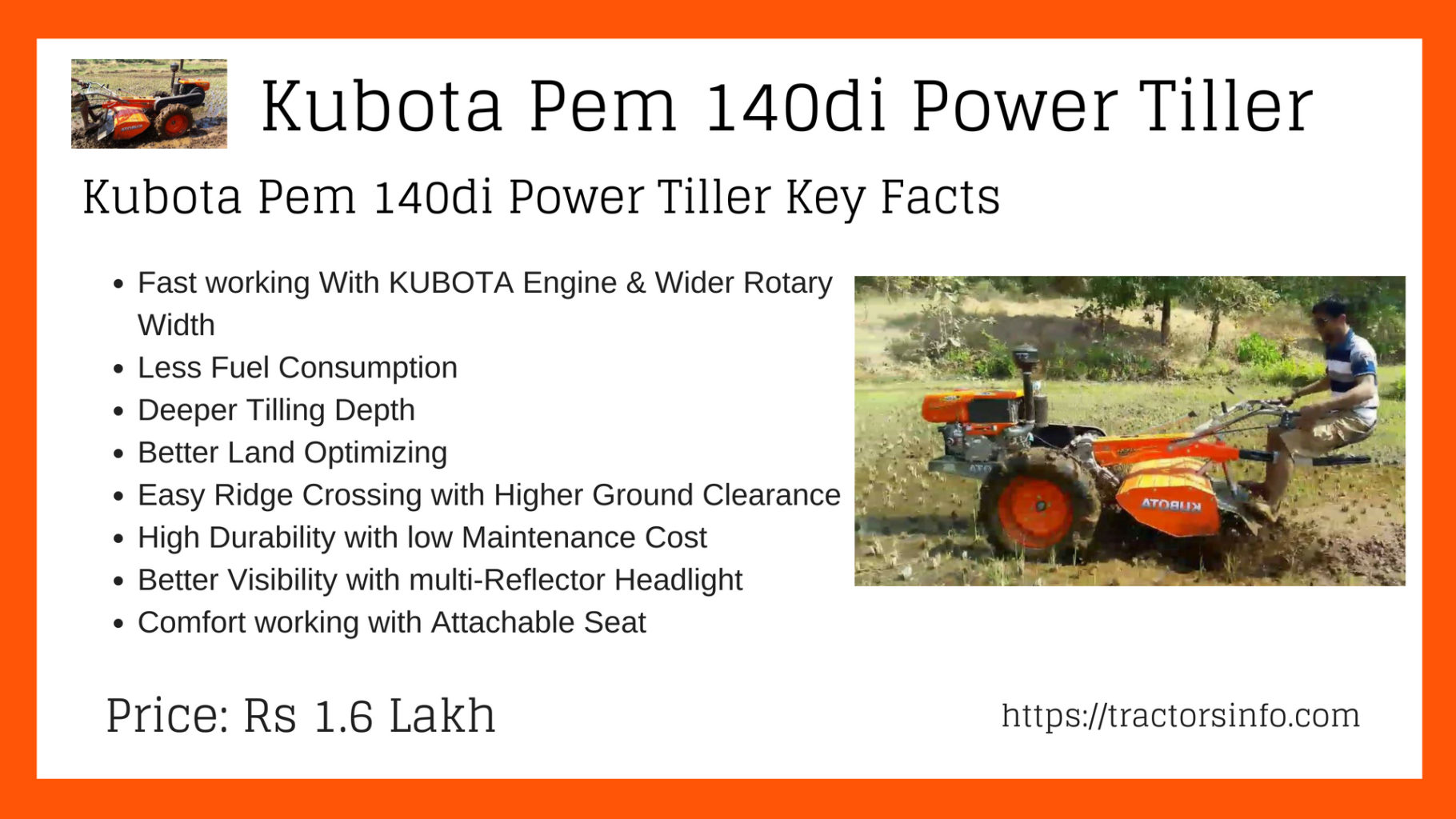 Kubota Pem 140di Power Tiller