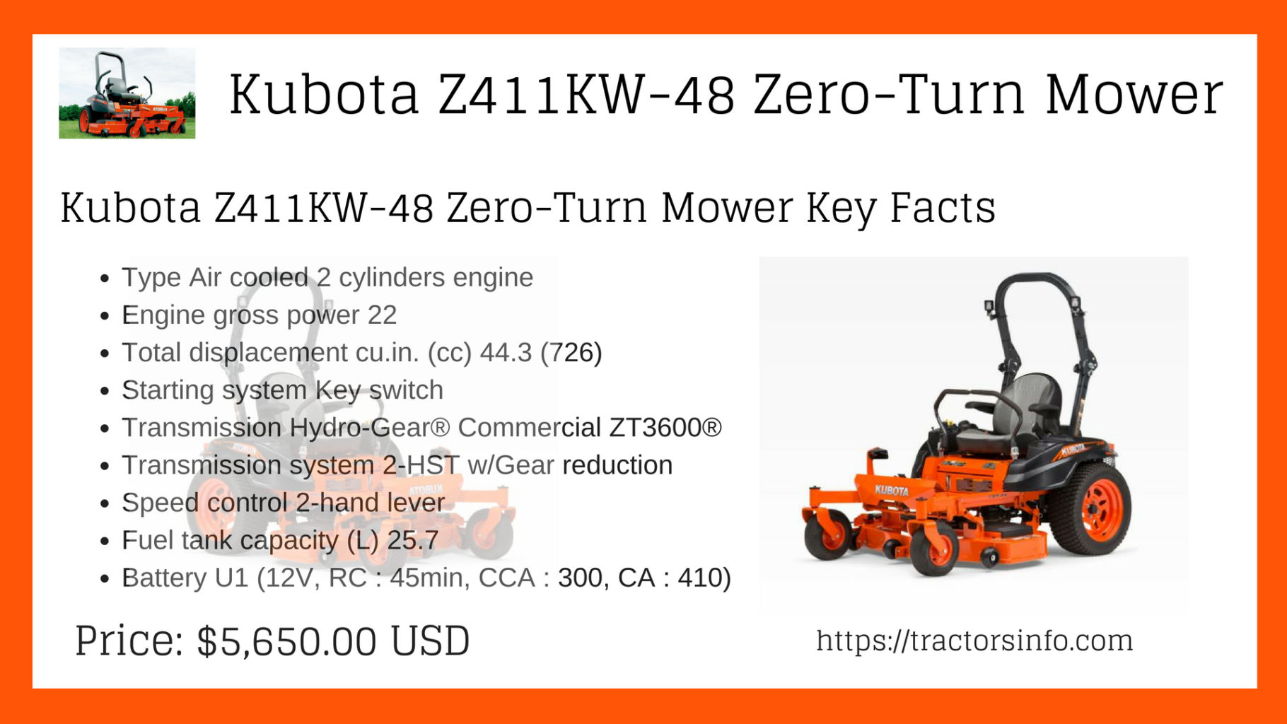 Kubota Z411KW-48 Zero-Turn Mower