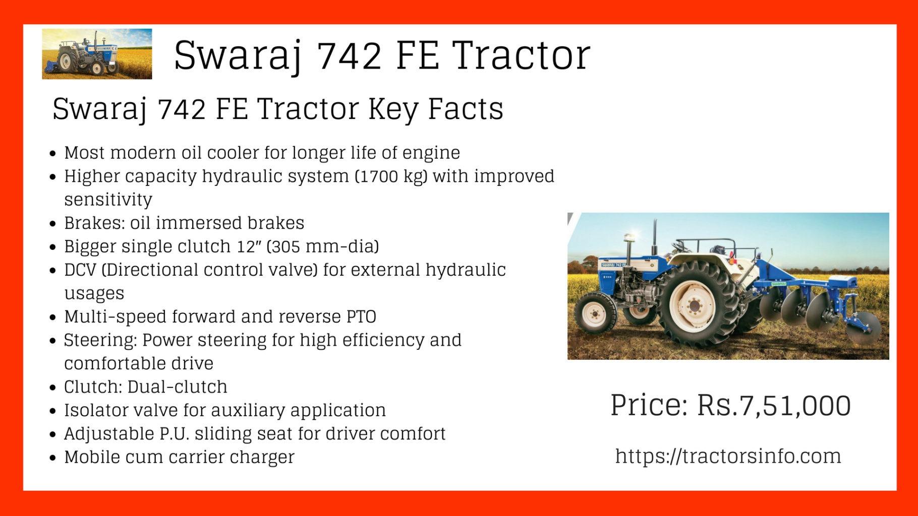 New Launch Swaraj 742 Fe Tractor Price Specs Features Case Ih 856 Wiring Diagram