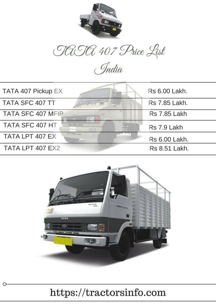 TATA 407 ALL Truck Price List, Specifications, Features, Pics