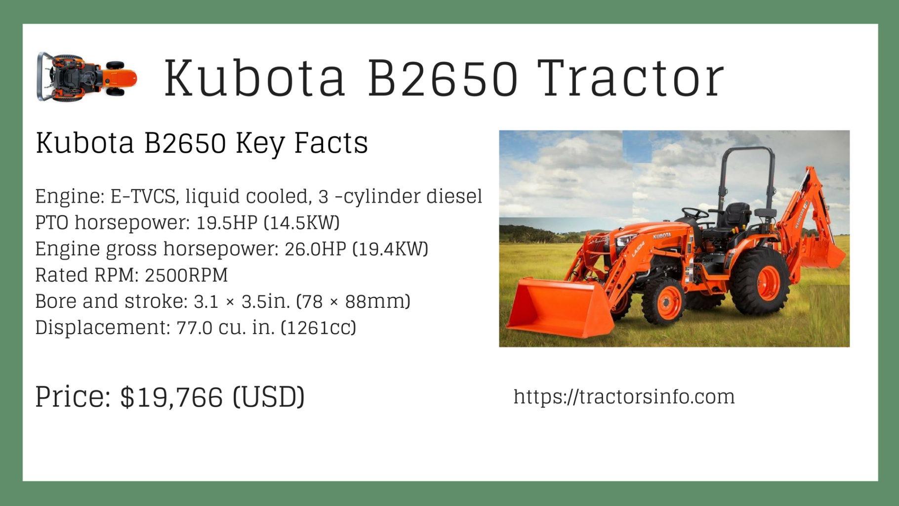 Kubota B2650 Tractor Price specs