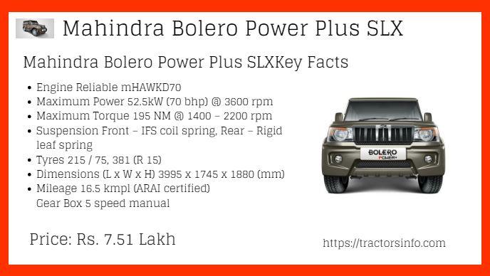 Mahindra Bolero Power Plus SLX Price