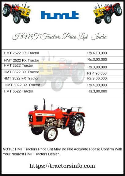 HMT Tractors Price List in India