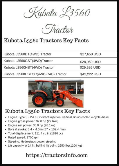 Kubota L3560 Tractor Price List Parts Information With Photos
