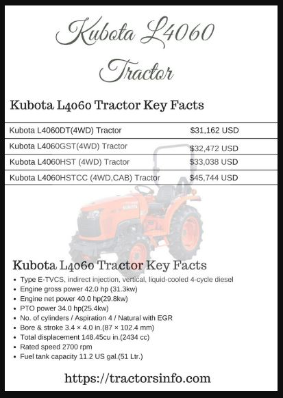 Kubota L4060 Tractor Parts Information, Price List, features