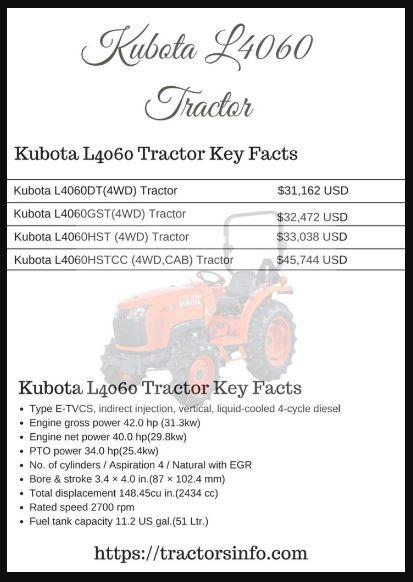 Kubota-L4060-Tractor price specs