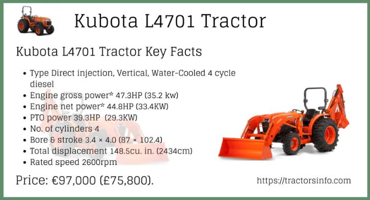 Kubota L4701 HST & Gear-drive Transmission Tractor Price Specs