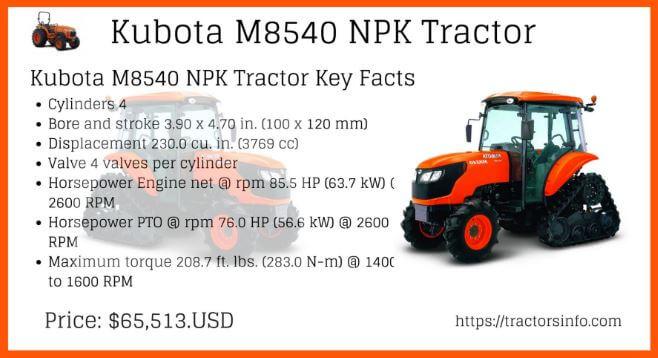 Kubota M8540 NPK price specs