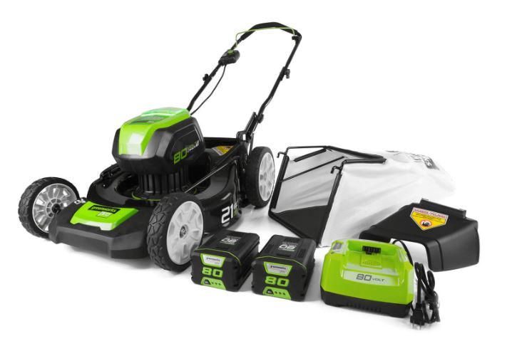 Greenworks 80V 21-Inch Cordless Brushless Lawn Mower (2- 2Ah Batteries)