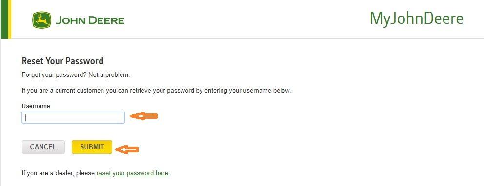 John Deere Financial Center forgot password step 2
