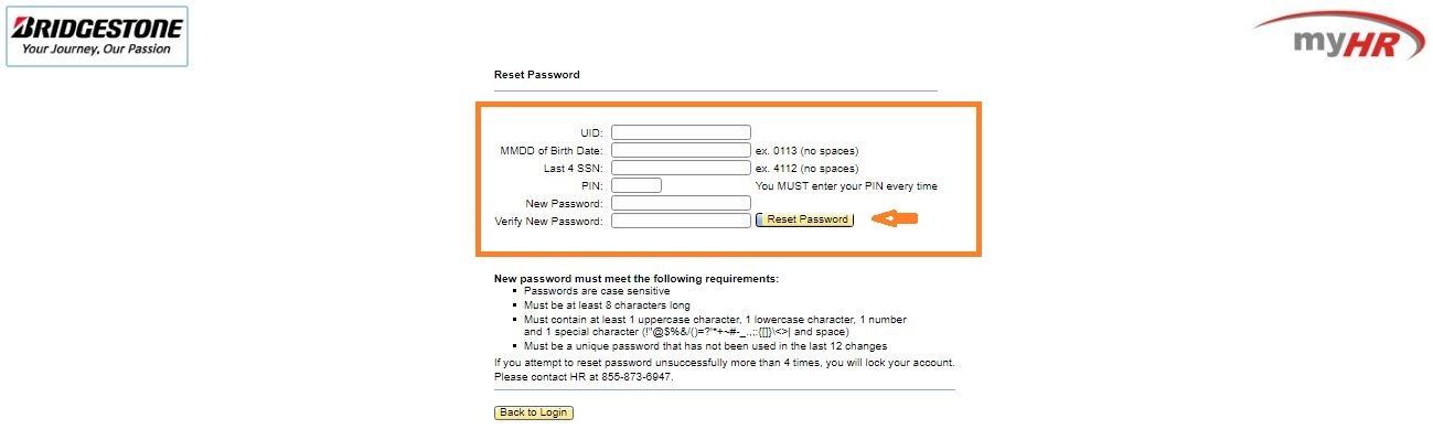 MyHR BFusa Bridgestone Portal Login forgot password step 2