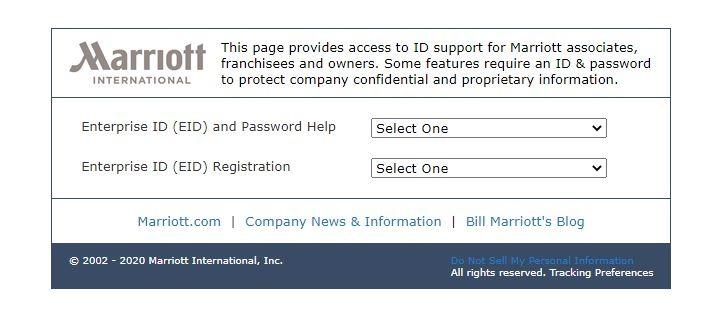 Forgot Marriott 4MyHR Enterprise ID 2
