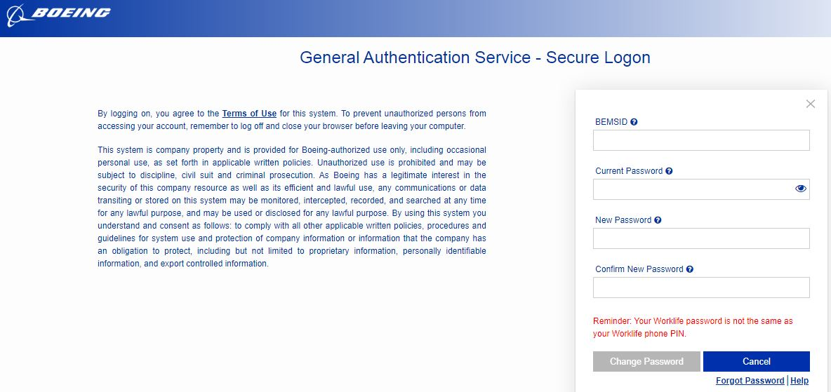 Change Boeing Total Access password