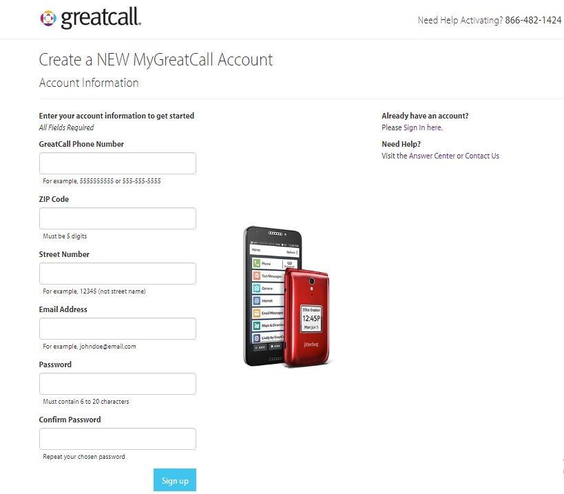 Create a NEW MyGreatCall Account 1