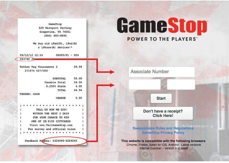 Gamestop Canada Survey Start