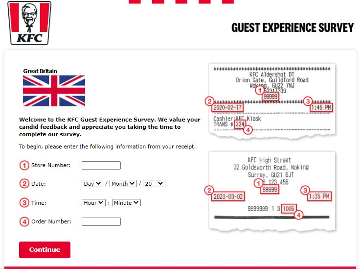KFC Great Britain Guest Experience Survey