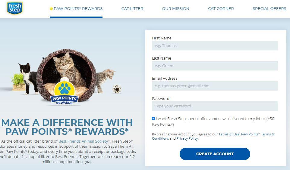 Sign Up for Free Cat Points Reward Program
