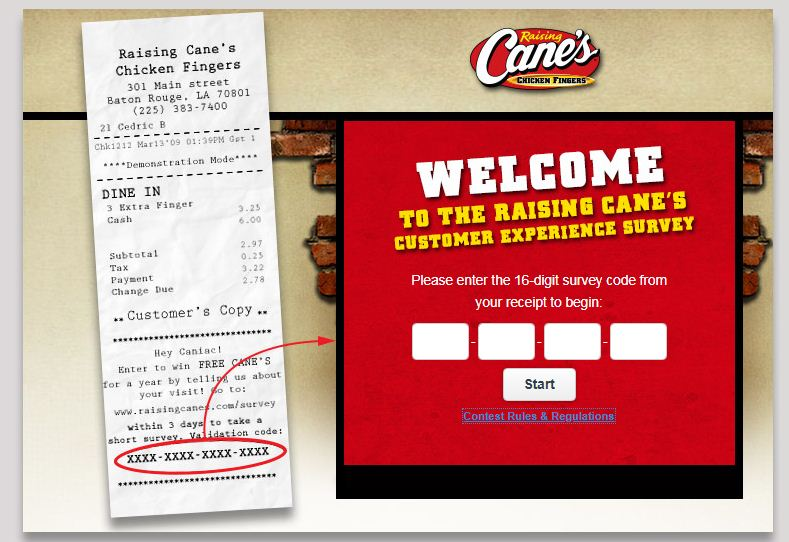 Raising Cane's Satisfaction Survey