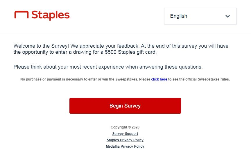 Survey.medallia.com/staples-cares