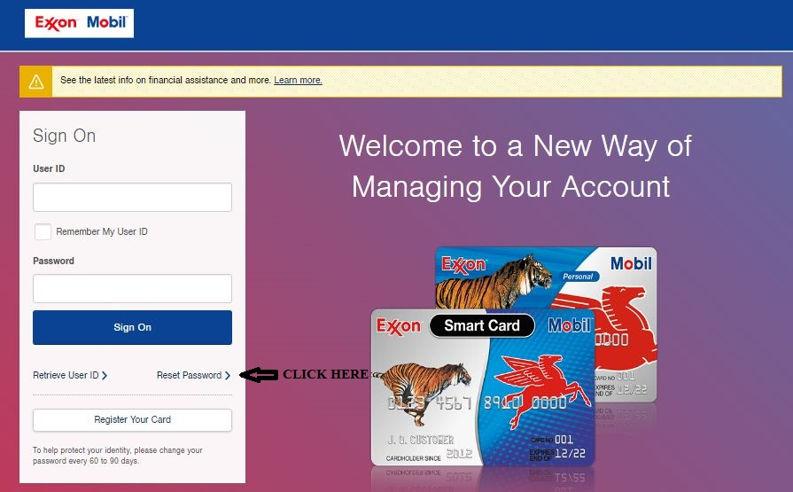 Exxonmobil Account Online Login reset password 1