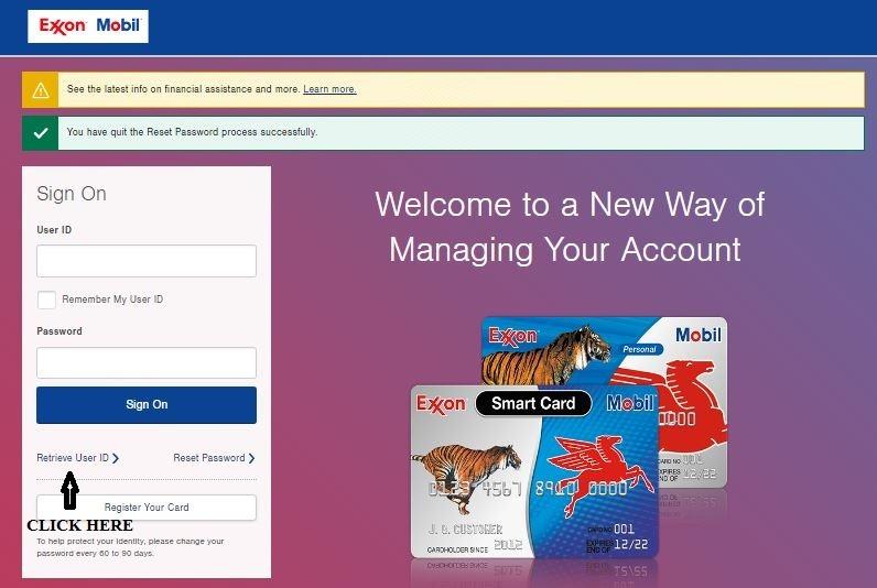 Exxonmobil Account Online Retrieve User ID 1