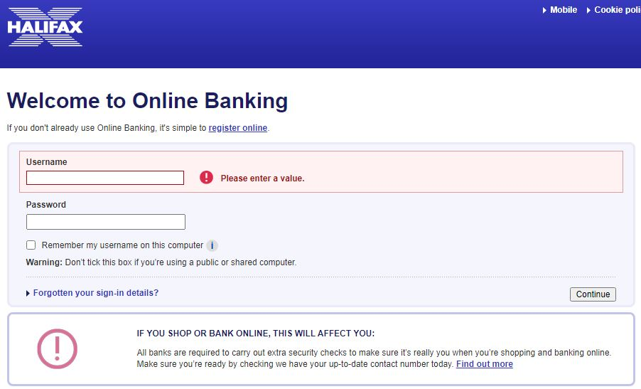 Halifax Online Banking Sign in Page