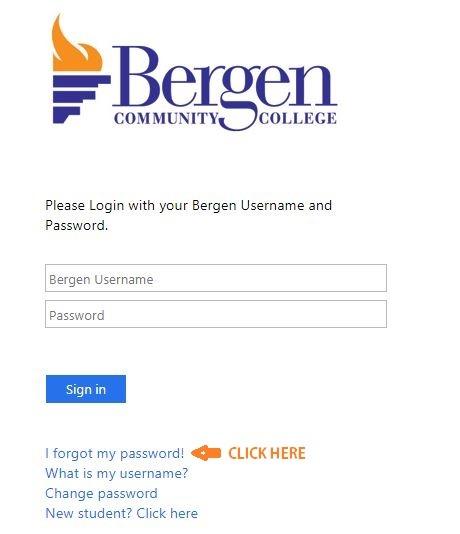 My Bergen forgot password 1