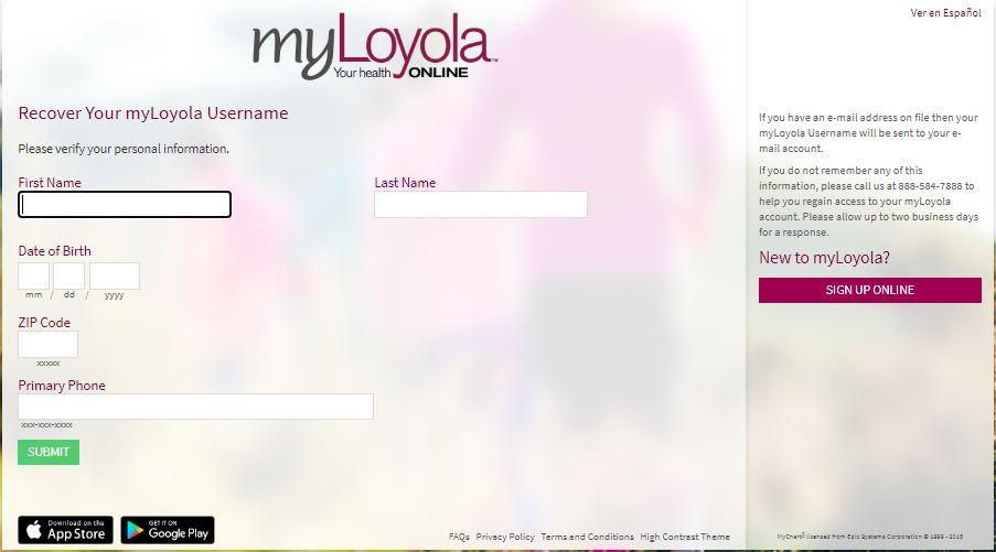 MyLoyola Login forgot Username 2