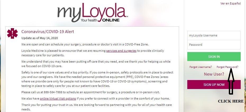 MyLoyola Login forgot password 1