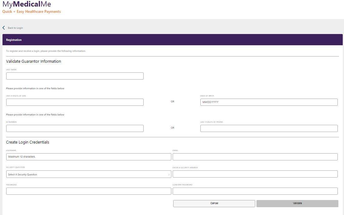 MyMedicalMe register step 1