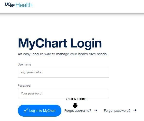 Mychart UCSF login forgot username 1