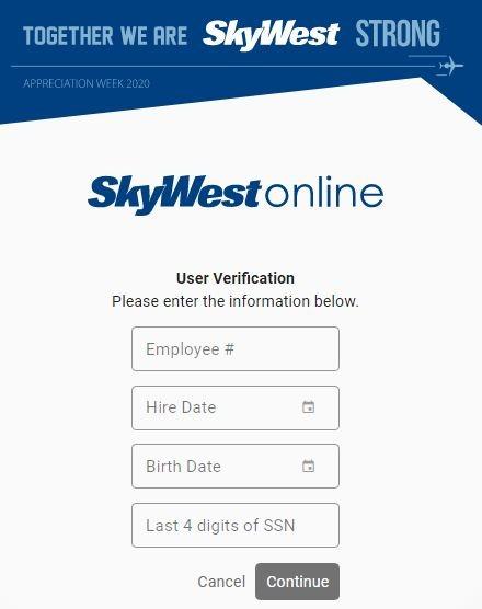 SkyWestOnline login Forgot password 2
