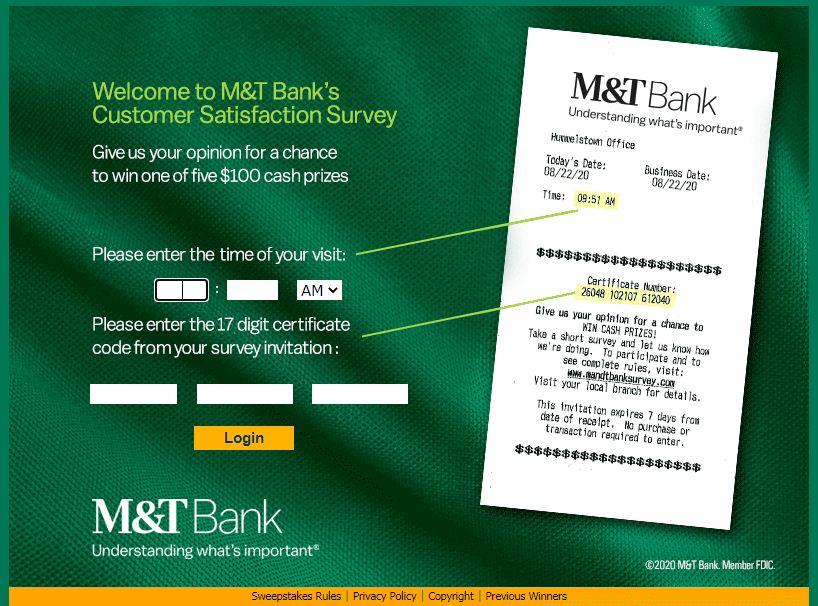 M&T Bank Guest Survey